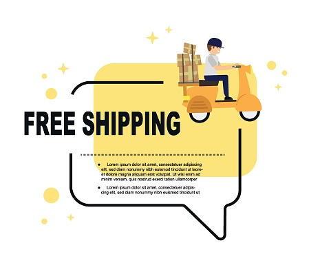 free shipping online shopping concept. digital marketing and commercial marketing. Vector illustration flat design template for web banner or infographic.