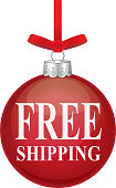Vector illustration of red christmas ornament with the words FREE SHIPPING on it in white type.