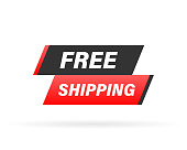 Free shipping rubber stamp. Red Free shipping rubber grunge stamp vector illustration