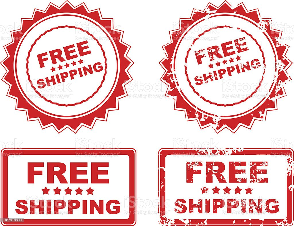 Free shipping rubber stamp vector art illustration