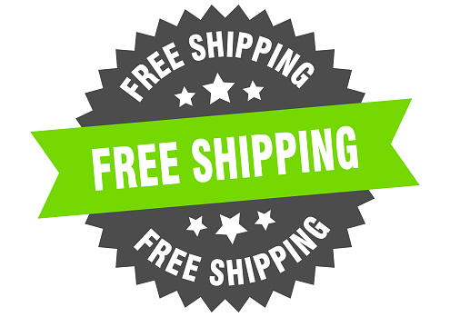 free shipping sign. free shipping green-black circular band label