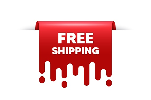 Free shipping text. Delivery included sign. Vector