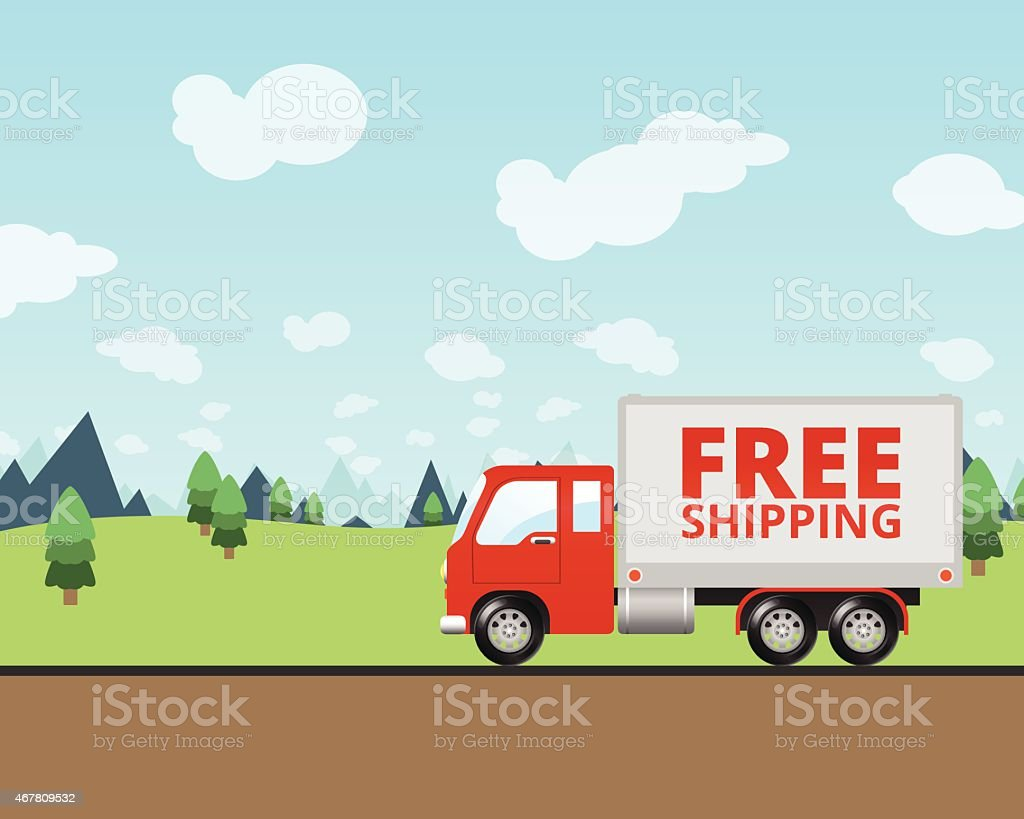 Free Shipping Truck Deliverying Packages vector art illustration