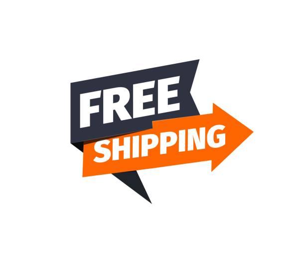 stockillustraties, clipart, cartoons en iconen met gratis verzending vector pictogram. aanwijzer voor bezorging. sticker van vrachtdiensten - scheepvaart