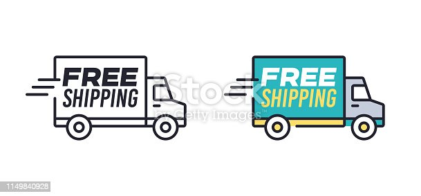 Free delivery shipping truck icon concept symbol.