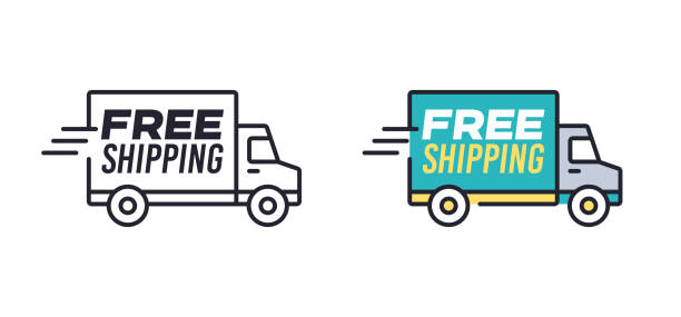 illustrazioni stock, clip art, cartoni animati e icone di tendenza di free shipping - logistica