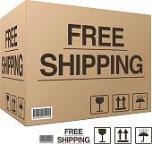 Free shipping. Cardboard box (EPS 10)