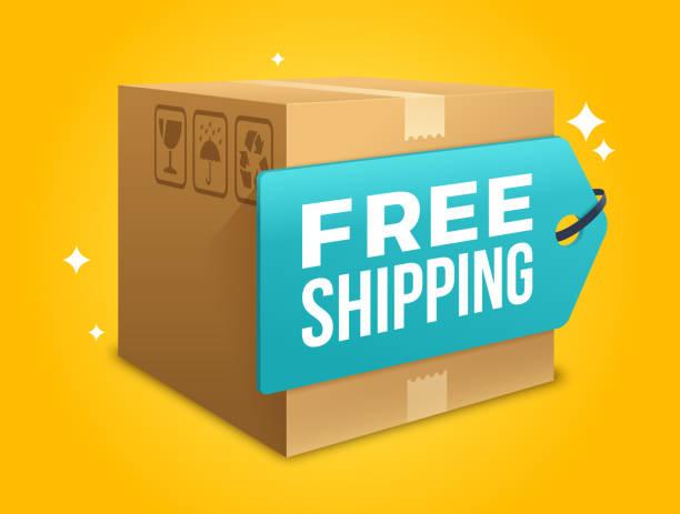 stockillustraties, clipart, cartoons en iconen met gratis verzending - scheepvaart