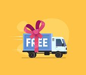 istock Free shipping vector illustration Isolated cartoon delivery truck with pink bow 1169646858