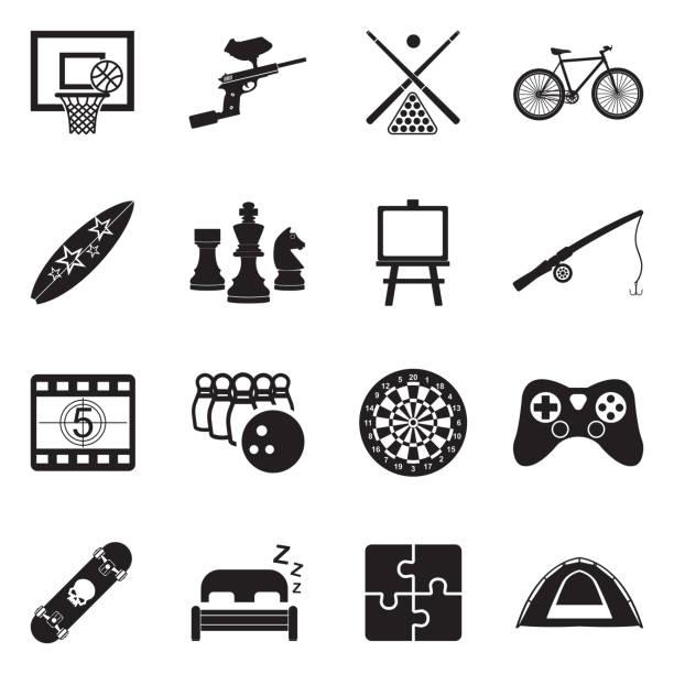 stockillustraties, clipart, cartoons en iconen met vrije tijd iconen. zwart plat ontwerp. vector illustratie. - board game outside