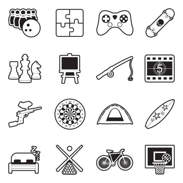 stockillustraties, clipart, cartoons en iconen met vrije tijd iconen. lijn met vulling ontwerp. vector illustratie. - board game outside