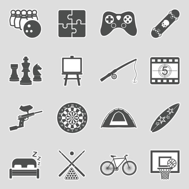 stockillustraties, clipart, cartoons en iconen met vrije tijd iconen. sticker ontwerp. vector illustratie. - board game outside