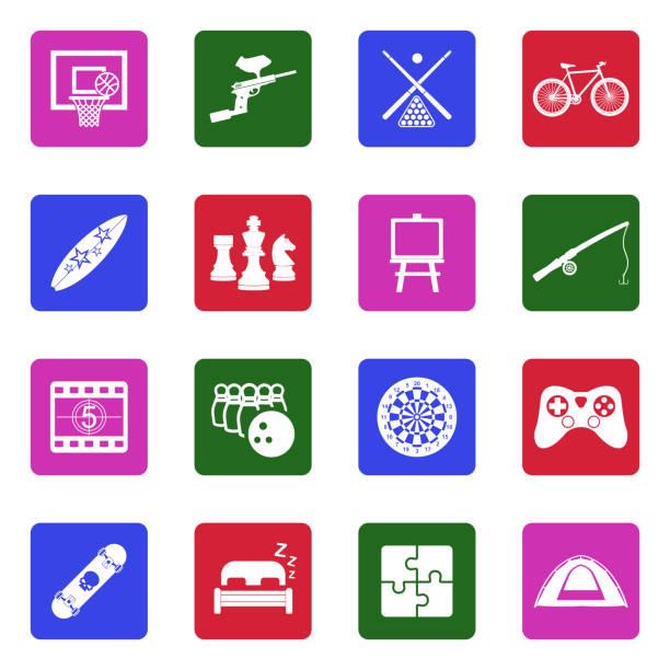 stockillustraties, clipart, cartoons en iconen met vrije tijd iconen. wit plat ontwerp in vierkant. vector illustratie. - board game outside