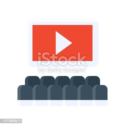 istock free time related cinema screen with paly button and chairs vector in flat style, 1272859472
