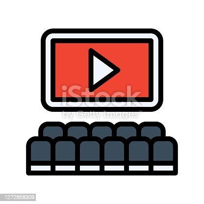 istock free time related cinema screen with paly button and chairs vector with editable stroke 1272858309