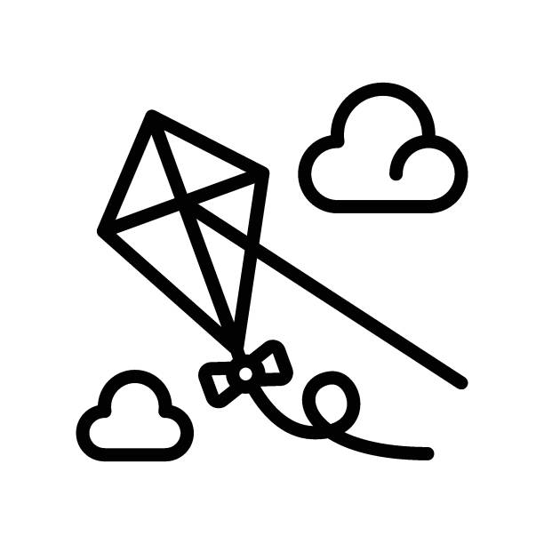 free time related flying kite in sky with clouds and thread vector in lineal style, free time related flying kite in sky with clouds and thread vector in lineal style administrate stock illustrations
