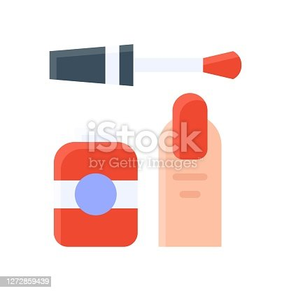 free time related nail polish with finger and nail vector in flat style,