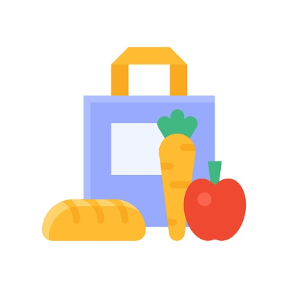 free time related shopping bag with fruit and burger vector in flat style,
