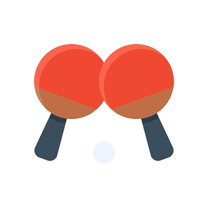 free time related table tennis bats with tennis ball vector in flat style,