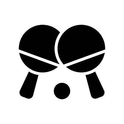 free time related table tennis bats with tennis ball vector in solid design,