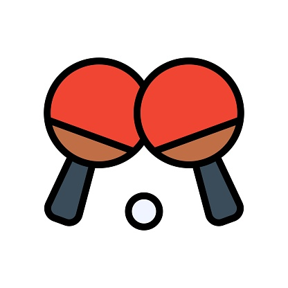 free time related table tennis bats with tennis ball vector with editable stroke