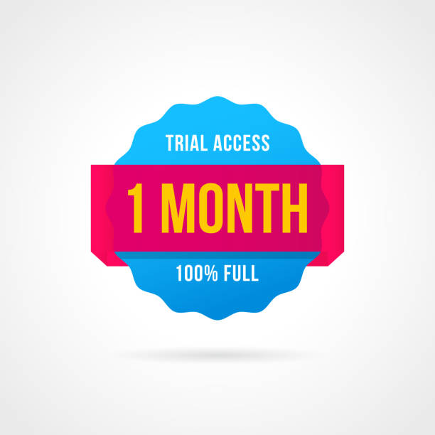 Free trial badges. 1 month access. banner stickers Free trial badges. 1 month access. banner stickers perks stock illustrations