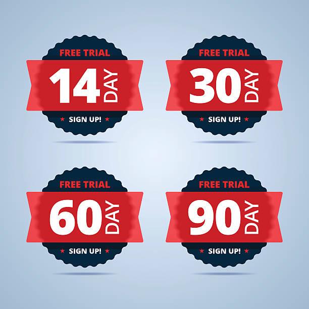 bildbanksillustrationer, clip art samt tecknat material och ikoner med free trial badges. 14, 30, 60 and 90-day stickers. - nummer 30
