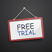 free trial hanging sign isolated on black wall