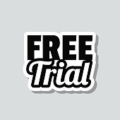 """Icon of """"Free Trial"""" on a sticker with a drop shadow isolated on a blank background. Trendy illustration in a flat design style. Vector Illustration (EPS10, well layered and grouped). Easy to edit, manipulate, resize or colorize. Vector and Jpeg file of different sizes."""