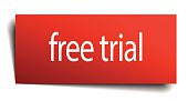 free trial red paper sign on white background