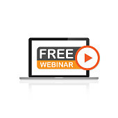 Free webinar, laptop icon. Flat vector illustration on white background