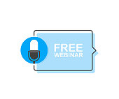 Free webinar online, with recorde microphone. Modern flat style vector illustration.