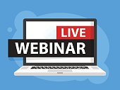 Free webinar play online button vector illustration in Laptop notebook computer screen. Vector illustration.
