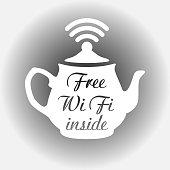 free wi fi sign teapot, free wifi sticker tea kettle