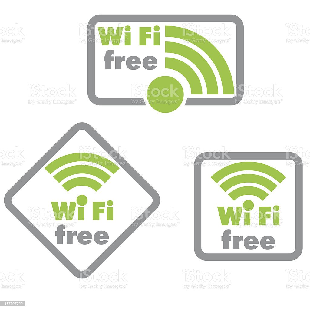 Free wifi and Internet sign with square border royalty-free stock vector art