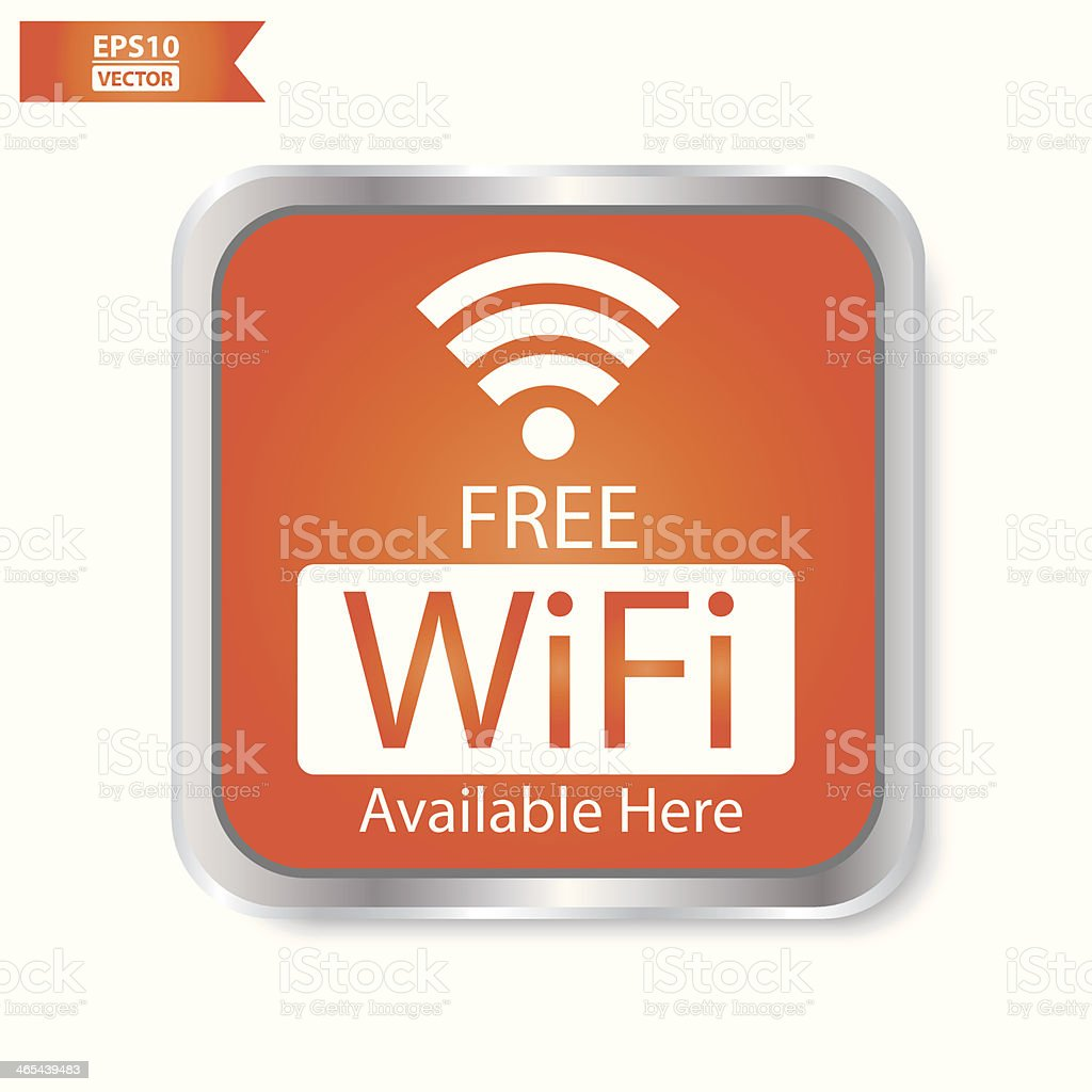 Free wifi available here sign with orange square isolated. vector art illustration