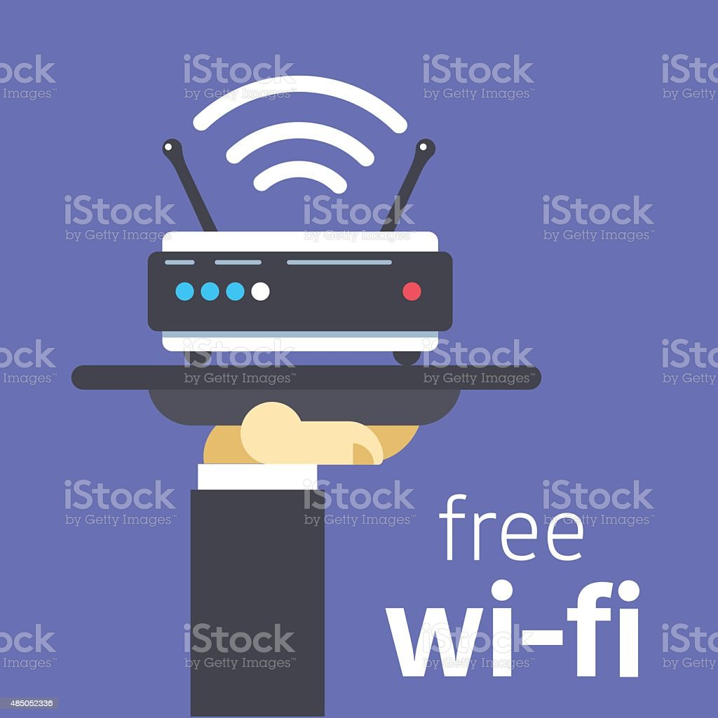 Free wifi offer vector art illustration