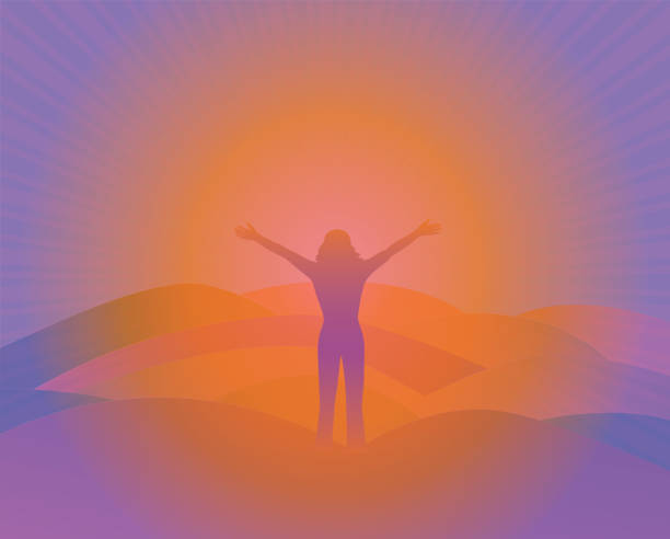 Free woman with arms raised on the top of mountain vector art illustration