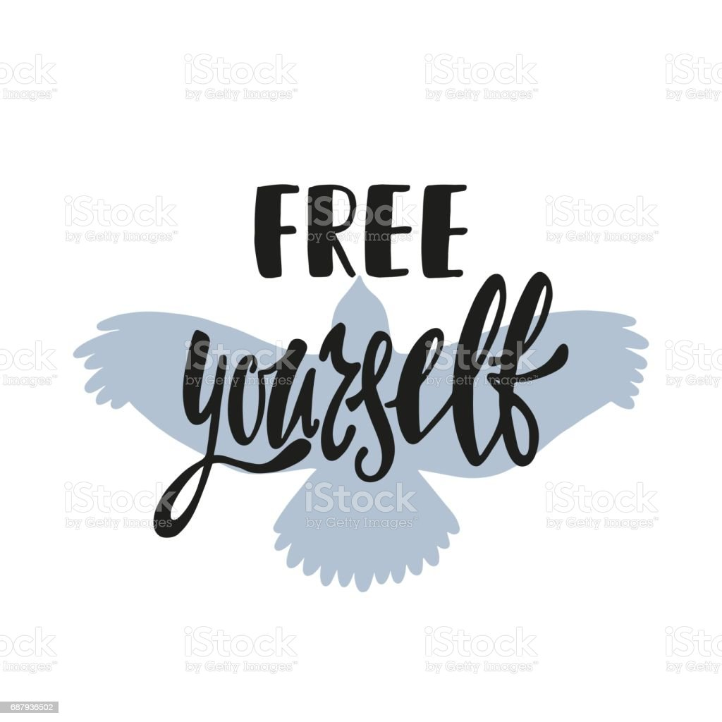 free yourself inspirational quote tシャツのベクターアート素材や