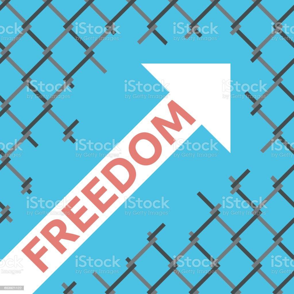 Freedom arrow, wire mesh vector art illustration