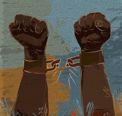 Freedom: breaking chains African american hands and arms