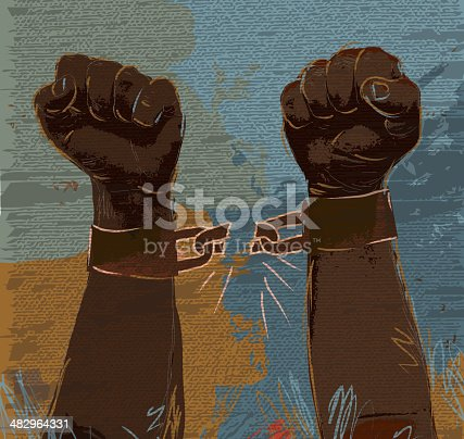 Vector illustration abstract of strong hands and arms breaking the chains. Download includes Illustrator 10 eps with transparencies, high resolution jpg and png file. See my portfolio for similar concepts.