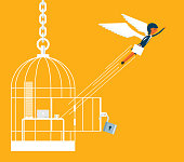 Businesswoman escape from birdcage, Concept business vector illustration.