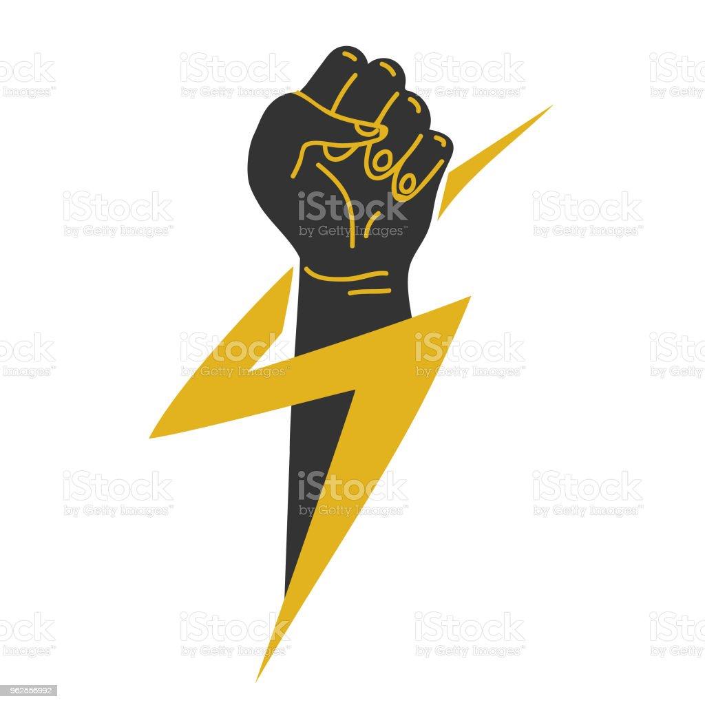 Freedom Concept Vector Red Fist Icon Revolution Fist Stock