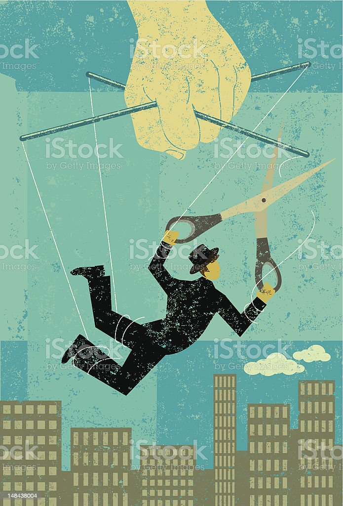 Freedom from the puppeteer royalty-free stock vector art