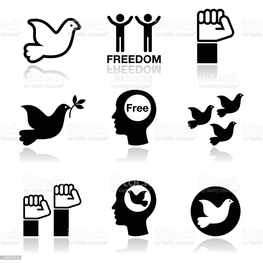 Freedom icons set - dove and fist symbols vector art illustration