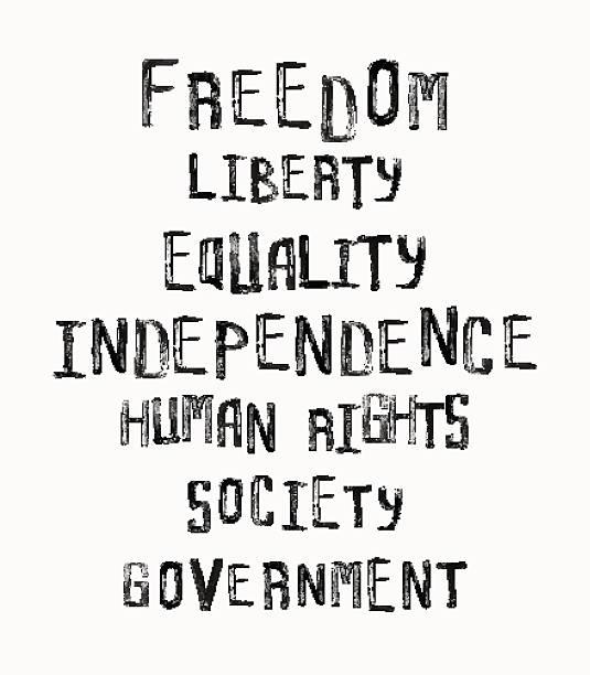 Freiheit, Unabhängigkeit, Gleichheit, word cloud concept in einem vintage-Stil – Vektorgrafik