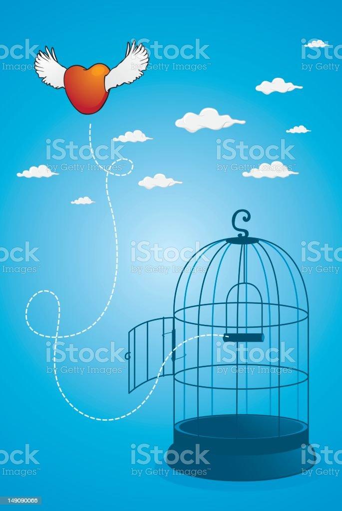 Freedom of heart vector art illustration