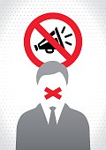 Censored Man with red tape on his mouth. In the back is a traffic like sign banning megaphone use. The man not allowed to talk about something or censored opinion.