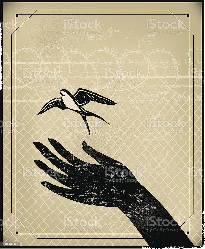 Freedom, Prison or Free Bird Background vector art illustration